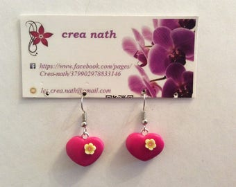 earring type polymer clay pink heart