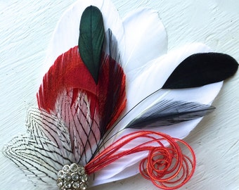 SIDNEY in Red with Black and White Feather Fascinator with Crystal and Pearl, Feather Hair Clip, Bridal Hair Piece