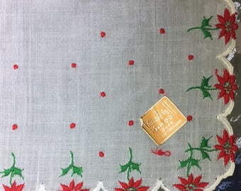 ON SALE Hanky Poinsettia Christmas Poinsettia Dotted  Scalloped Edge Festive Christmas Handkerchief Made in Switzerland