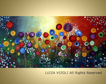 ORIGINAL Painting FLOWERS huge Original Floral Oil Painting on Gallery Canvas Art by Luiza Vizoli