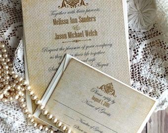 Wedding Invitation Suite - Burlap - Romatic - Elegant - Vintage Wedding Invitation - Handmade -  by avintageobsession on etsy