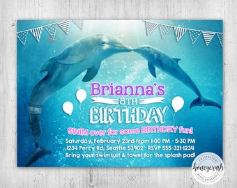 Dolphin Tale Birthday Invitation - Printable Digital File