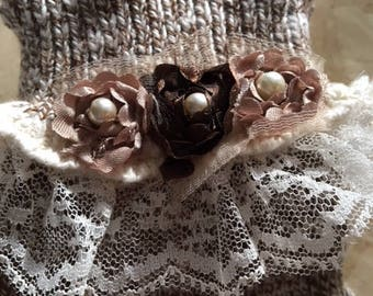 Rag Socks With Lace And Pearls