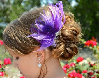 Lavender Purple Feather Fascinator Comb Bridal Wedding Hair Piece