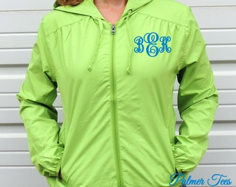 Ladies Monogrammed Full Zip Lightweight Wind & Rain Jacket with Hood (Thin Zip Up Jacket Embroidered w. Monogram, Sizes XS-4X) L305