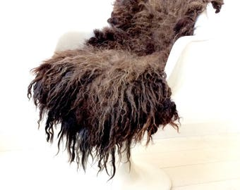 Brown-black-gray animal friendly felted sheepskin rug