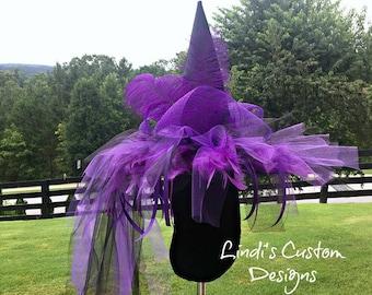 Purple Black Adult Witch Hat, Custom Halloween Witch Hat, Feather, Tulle, Mesh Halloween Witch Hat