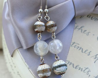 Agate earrings drop style with Sterling earwires