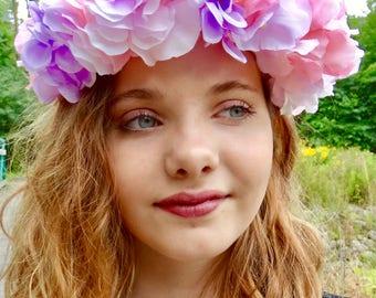 Pastel Rainbow Hydrangea Flower Crown
