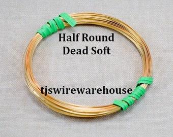 18 ga Nu Gold Wire, Red Brass Wire, HALF ROUND, Dead Soft, 25 Ft.