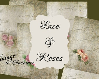 Rose Digital Paper Lace Overlays Wedding Background Texture Paper Peony Stationary Journal and Scrapbook. No. P232