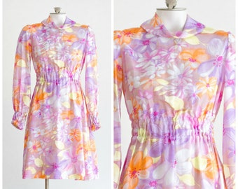 1960s long sleeve lilac and orange floral a-line dress
