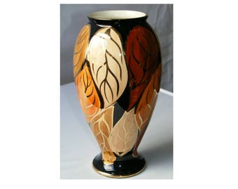Vase by Oldcourt - Large Gilded Lustreware in Autumnal colours on black background