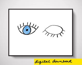 Wink Wall Art Print Digital Download
