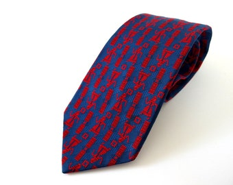 Vintage 1980's Wide Tie - Red and Blue Egyptian Tie