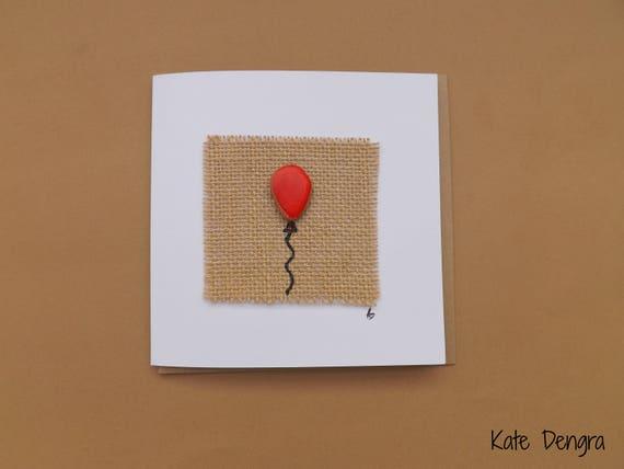 Red Balloon Pebble Greetings Card