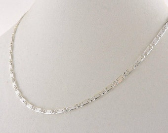 """Sterling Silver Textured Enclosed Scroll Link Necklace 18"""""""