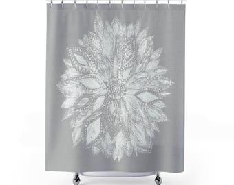 Grey Flower Shower Curtain Floral