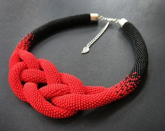 Beaded necklace Beaded Crochet Josephine Knot Rope Necklace Crocheted necklace Beadwork necklace