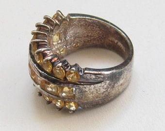 Sterling Silver Ring, Rhinestone, 1960s Vintage Jewelry  Sale