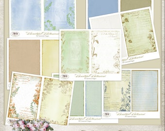 Beautiful Botanical 5x7 Digital Journal Papers, Garden, Vintage, Junk Journal, Commercial use, Mini album, Printable, Romantic, Floral