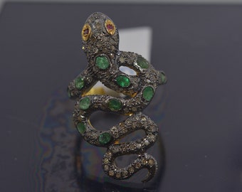 Emerald Gemstone and Pave Diamond Snake Rings Sterling 925 Sterling Silver Designer Jewelry