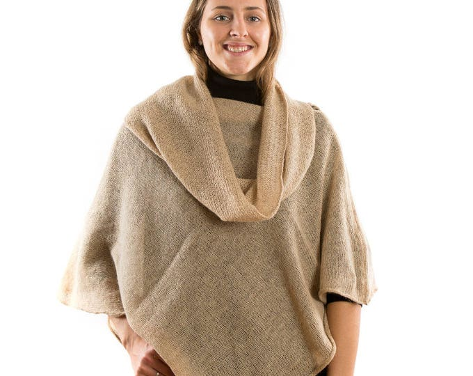 Featured listing image: Womens Knit Poncho.Spring Cape Nude . Beige Knit light poncho. Poncho Sweater. Mothers Day present for grandmother wife Mother