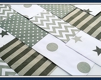 """30 x Grey Silver 5"""" Fabric Patchwork Squares Pieces Charm Pack"""