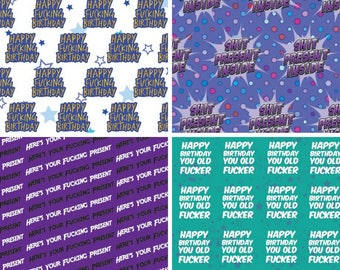 Rude Swearing Birthday Wrapping Paper Selection Pack (Rude Gift Wrap designs)