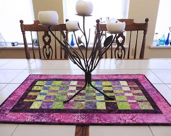 Modern Quilted Batik table runner purple green fuschia