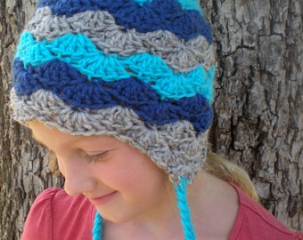 PATTERN:  Stellabel Hat- Easy Crochet PDF, 3 Sizes, tassels striped flower beanie, lacy shells, InStAnT DoWnLoad, Permission to Sell