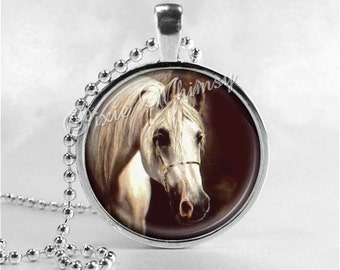 HORSE Pendant Necklace, Horse Jewelry, Horse Charm, Glass Photo Art Necklace, Gift for Equestrian, Horse Lover Gift, Equine Jewelry
