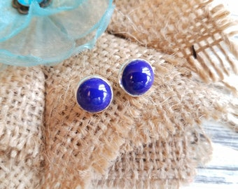 Navy Blue Glass Cabochons . Silver Settings . Studs . Earrings