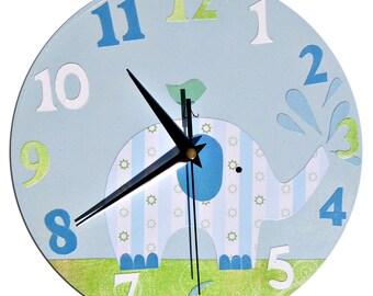 Elephant Clock / Children's wall Clock / Nursery Clock - Blue, Pink