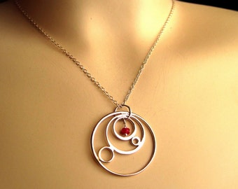 Sterling Silver Orb Necklace with Ruby