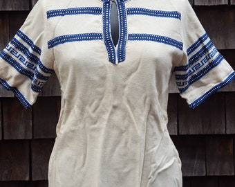 1970's Vintage Linen Indian Tunic Shirt