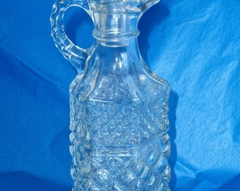 Wexford Pattern Glass Cruet Condiment Bottle with Stopper Oil Vinegar Vintage Anchor Hocking 60's