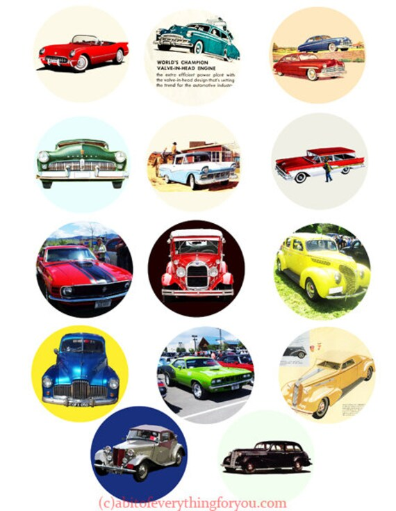 digital downloadable collage sheet vintage antique cars automobiles printables  clipart 2 inch circles images DIY jewelry making scrapbook