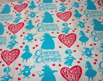 Alice in Wonderland Fabric Off With Their Heads   By Fat Quarter New BTFQ