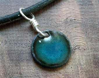 Water Blue Copper Enamel necklace