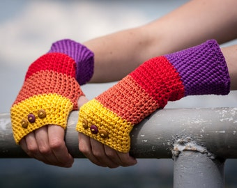 Violet Red Orange Yellow Fingerless Gloves / 100% Cotton Crochet Arm Warmers / Rainbow Striped Button Gloves / Fall Winter Accessories Gift
