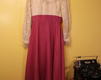 Vintage 60s 70s Maxi Lace Dress