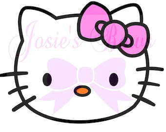 hello kitty face head and outline cut cutting file svg jpg and - Hellokitty
