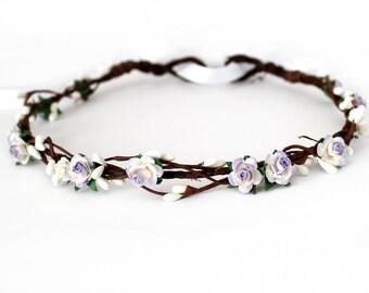 Lavender Flower Crown, Flower Girl Crown, Lilac floral crown, Bridesmaid hair garland, Bridal flower crown wedding, boho wedding, rustic