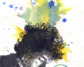 Portrait Painting of Bob Dylan Art Print From an Original Watercolor Painting Bob Dylan Print Bob Dylan Poster Music Poster Painting