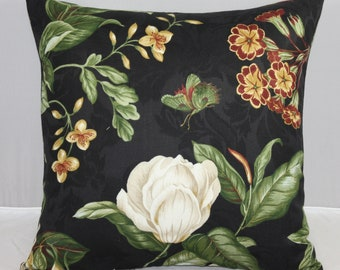 Pillow Cover Waverly Floral Black Williamsburg Garden Image 18x18 with Zipper