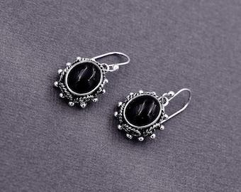Boho 925 Sterling Silver and Black Onyx Oval Drop Earrings