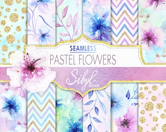 60% OFF SALE, Digital Watercolor Floral Paper, Pastel Flowers Digital Paper, Watercolor Floral Seamless Pattern, Flowers Hand Painted Paper