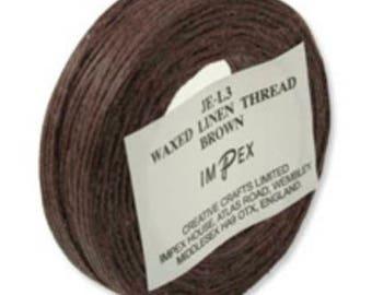 Waxed Linen Thread - Brown 22m reels.
