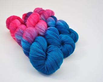 Flamingo Blues | Sock | superwash merino nylon sock | pink blue purple yarn